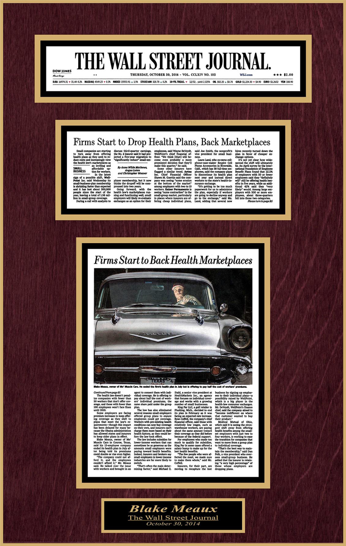 Wall Street Journal article featuring Blake Meaux and Mo Muscle Cars